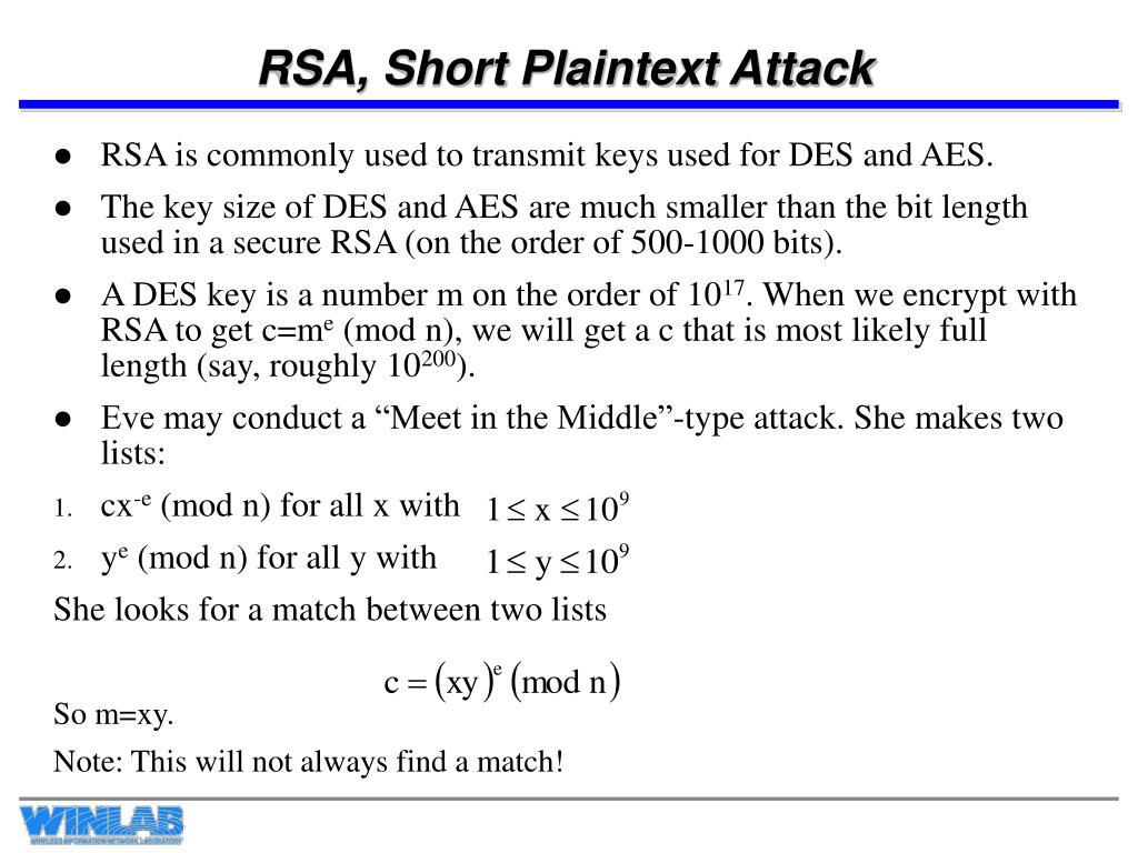 RSA, Short Plaintext Attack