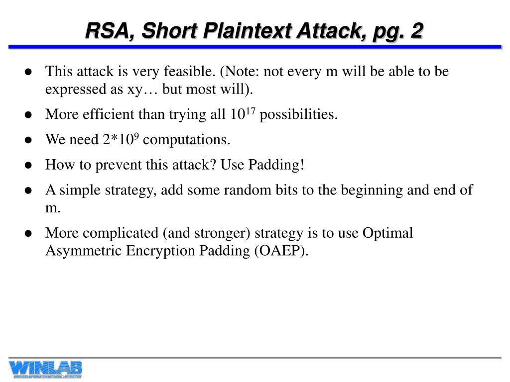 RSA, Short Plaintext Attack, pg. 2