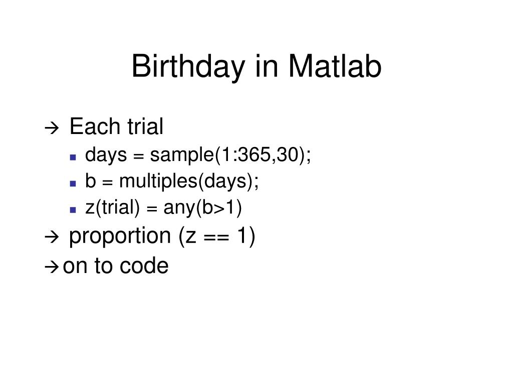 Birthday in Matlab