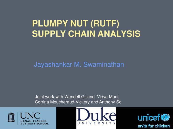 Plumpy nut rutf supply chain analysis