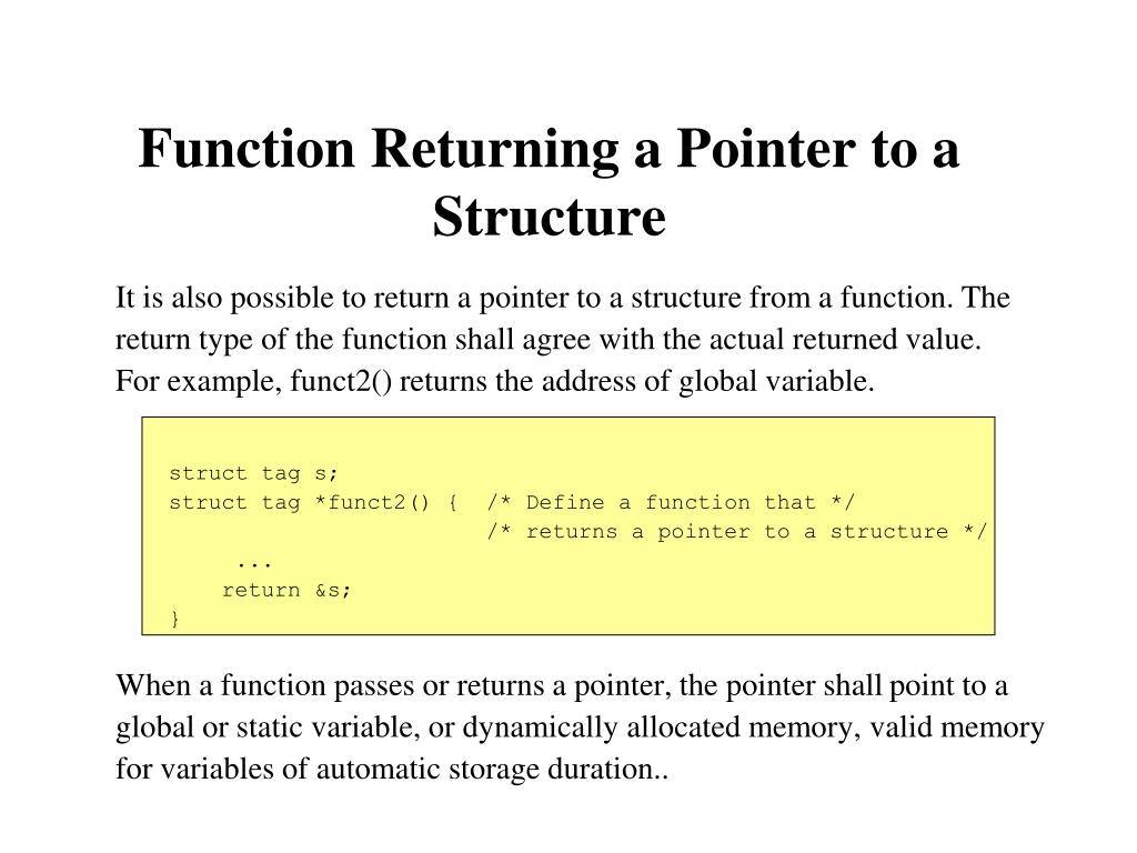 Function Returning a Pointer to a Structure