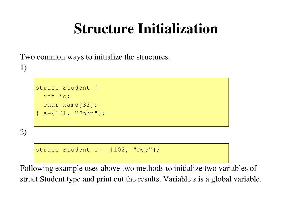 Structure Initialization