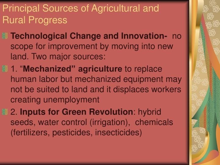 Principal Sources of Agricultural and Rural Progress