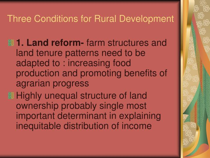 Three Conditions for Rural Development