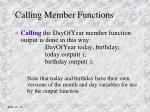 calling member functions