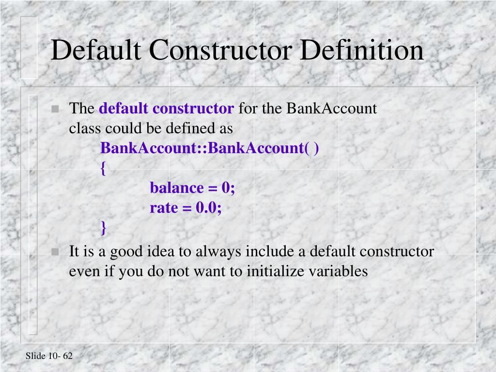 Default Constructor Definition