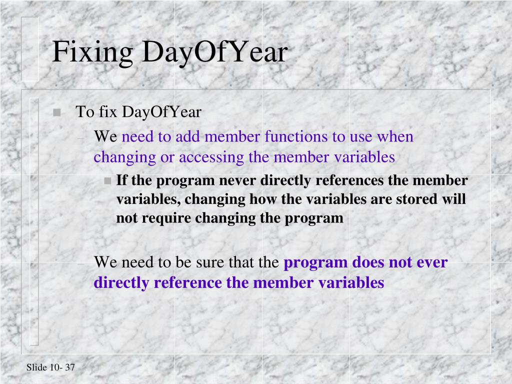 Fixing DayOfYear