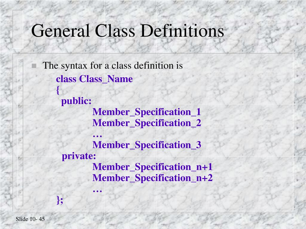 General Class Definitions
