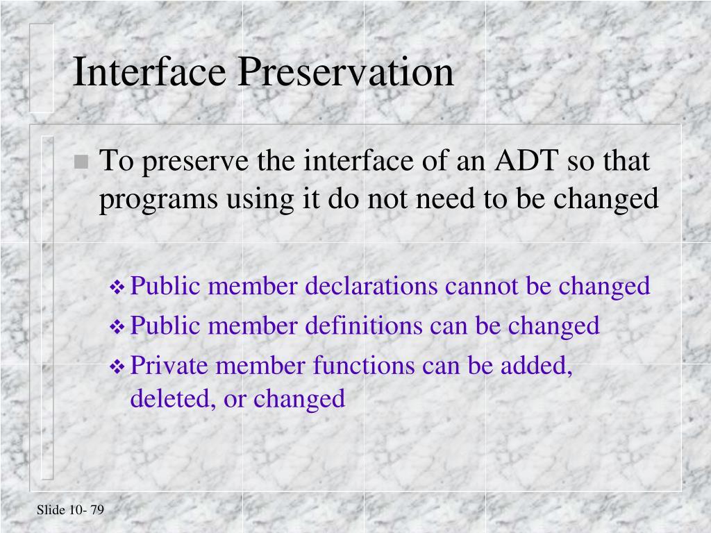 Interface Preservation