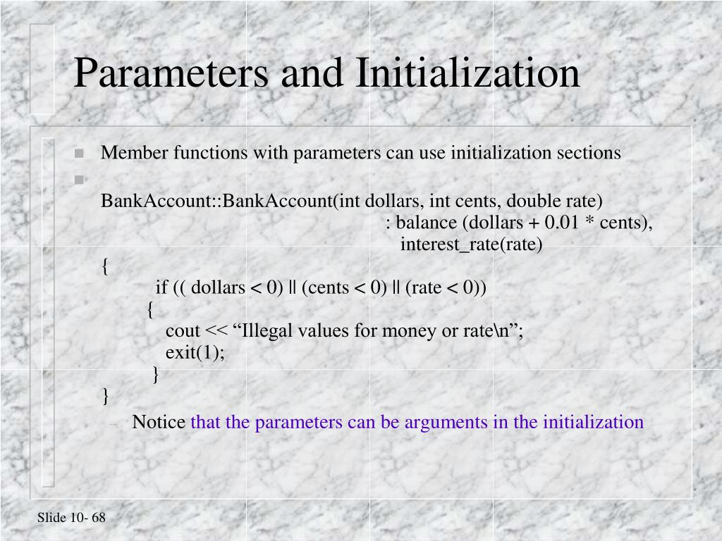 Parameters and Initialization