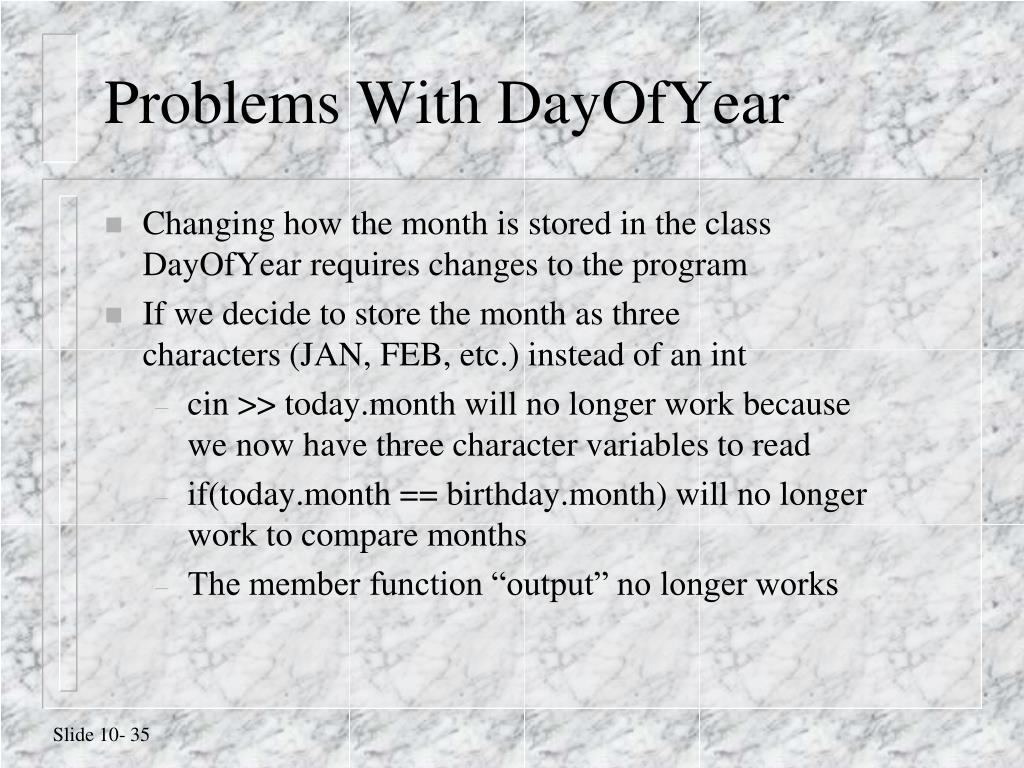 Problems With DayOfYear