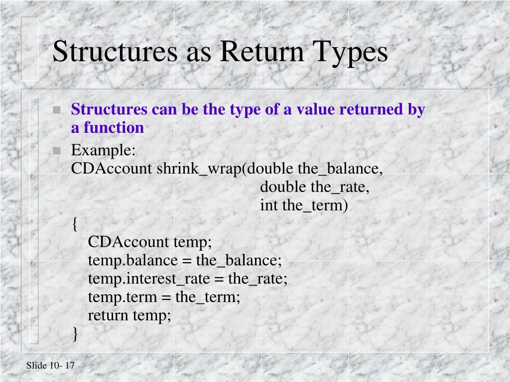 Structures as Return Types