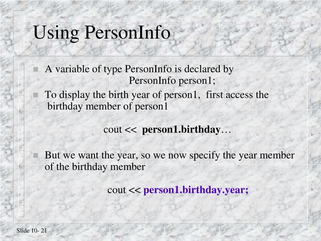 Using PersonInfo