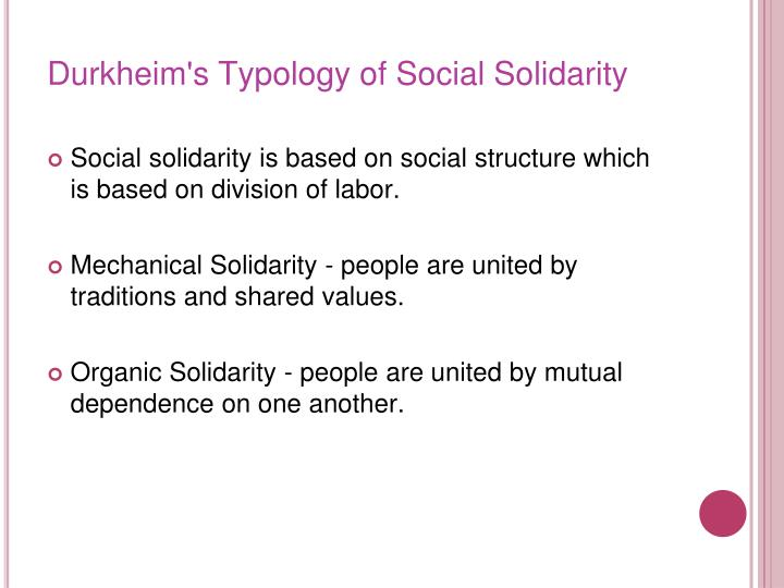 Durkheim's Typology of Social Solidarity