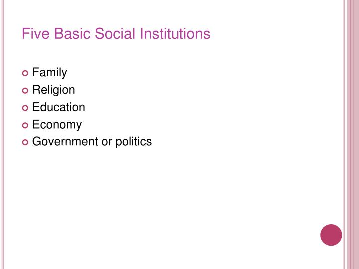 Five Basic Social Institutions