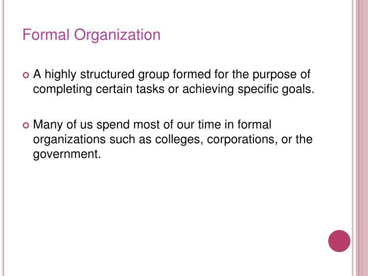 Formal Organization