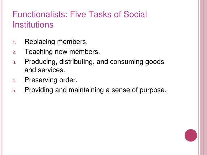 Functionalists: Five Tasks of Social Institutions