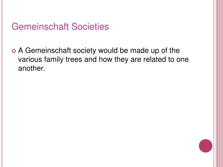 Gemeinschaft Societies