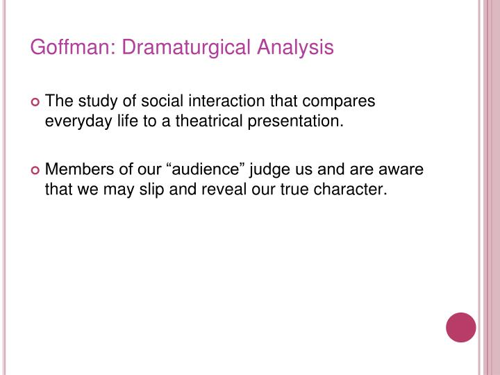 Goffman: Dramaturgical Analysis