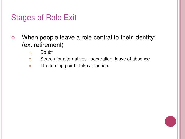 Stages of Role Exit