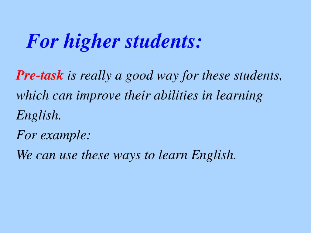 For higher students: