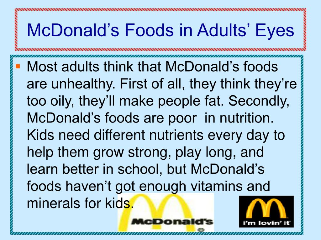 McDonald's Foods in Adults' Eyes
