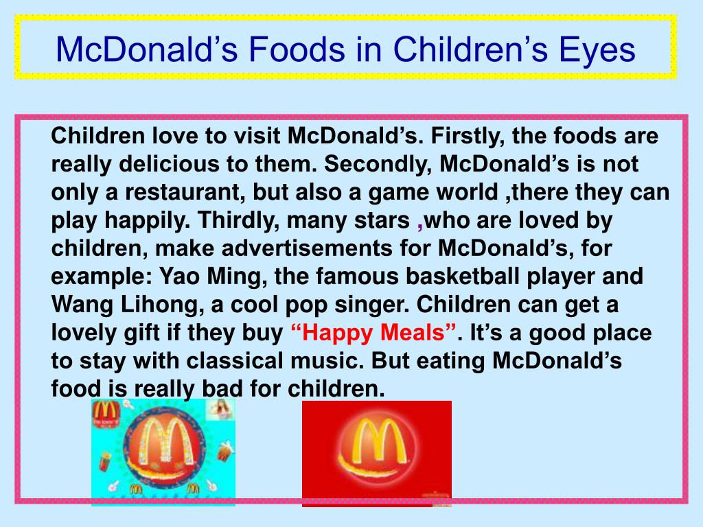 McDonald's Foods in Children's Eyes