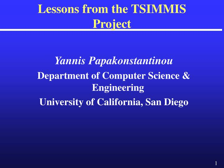 Lessons from the tsimmis project l.jpg