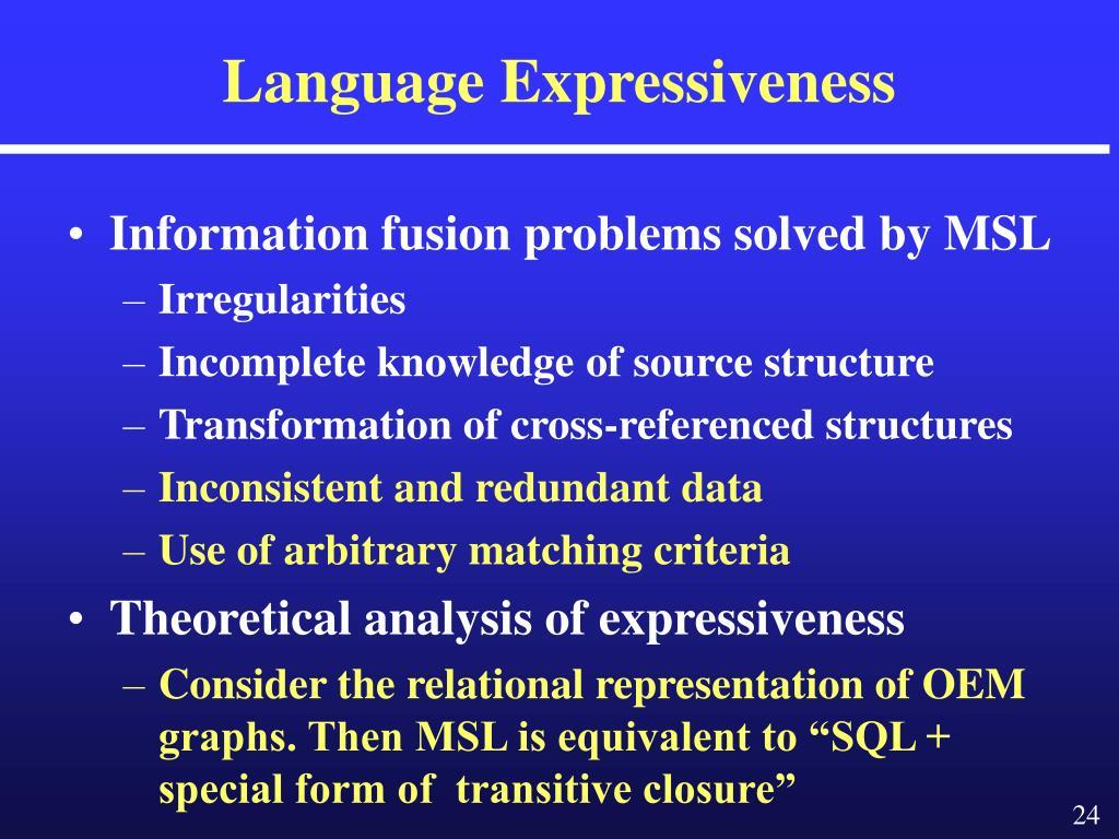 Language Expressiveness