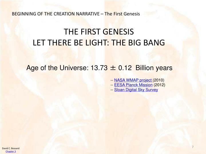 BEGINNING OF THE CREATION NARRATIVE – The First Genesis