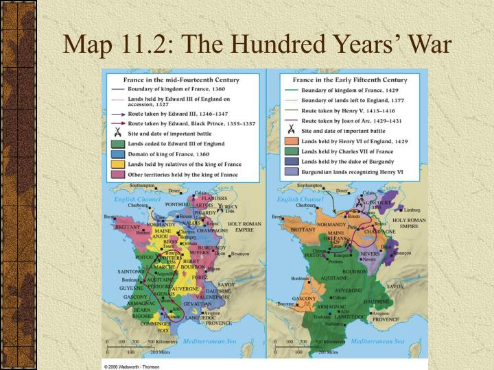 Map 11.2: The Hundred Years' War