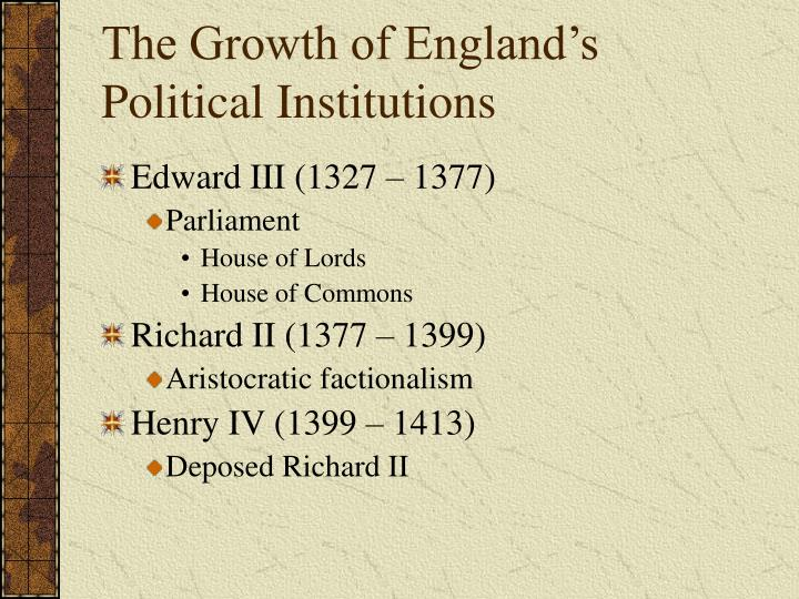 The Growth of England's Political Institutions