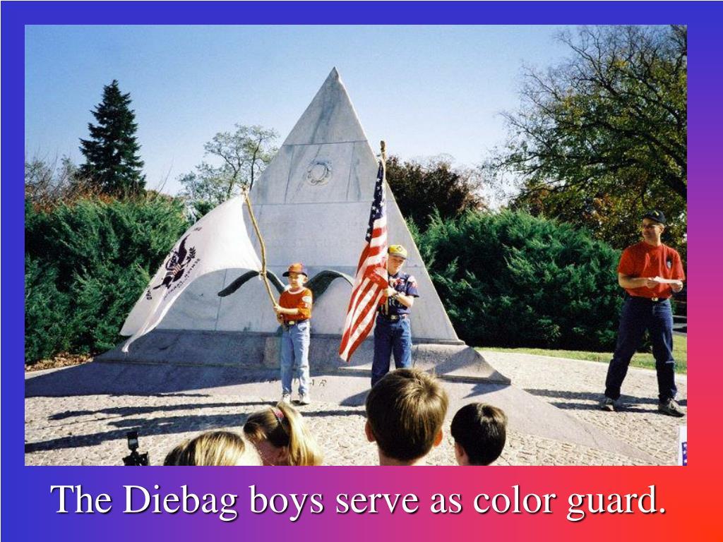 The Diebag boys serve as color guard.
