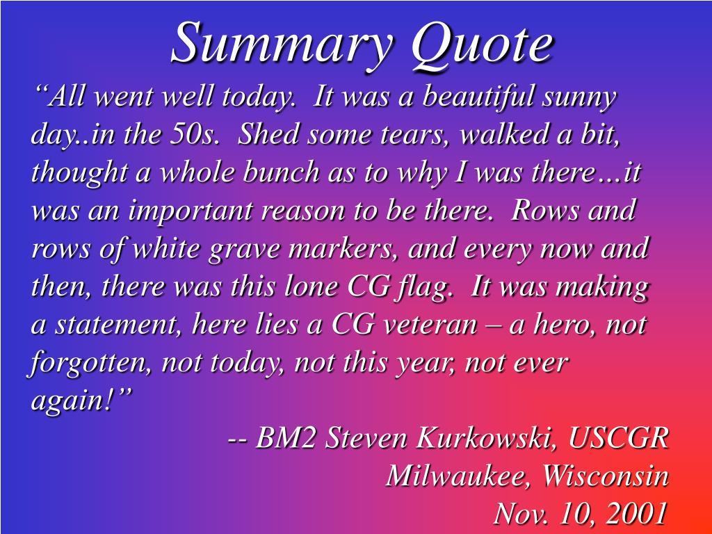 Summary Quote