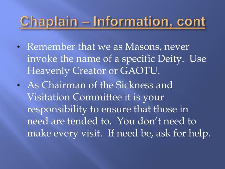 Chaplain – Information,