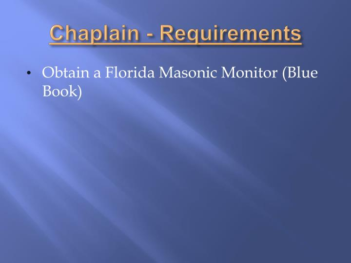 Chaplain - Requirements