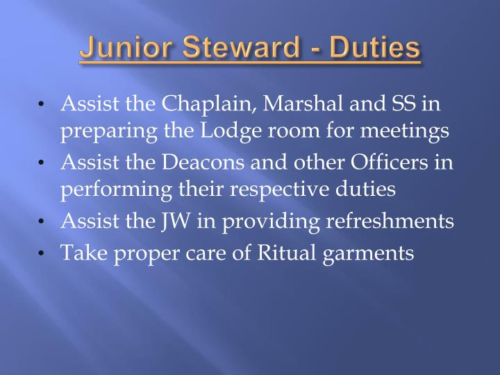 Junior Steward - Duties