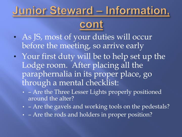 Junior Steward – Information,