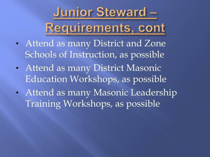 Junior Steward – Requirements,