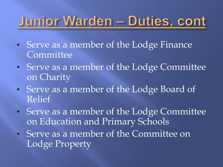 Junior Warden – Duties,