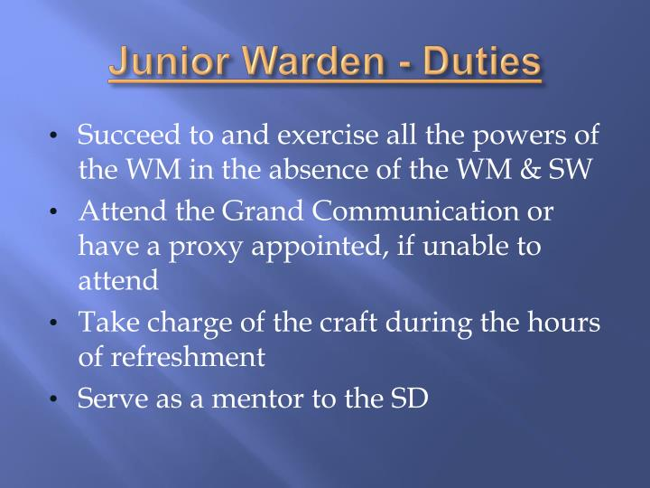 Junior Warden - Duties