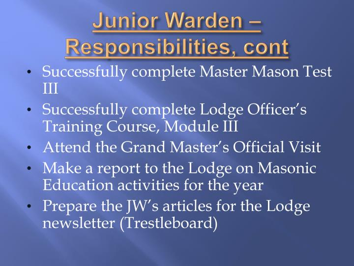 Junior Warden – Responsibilities,