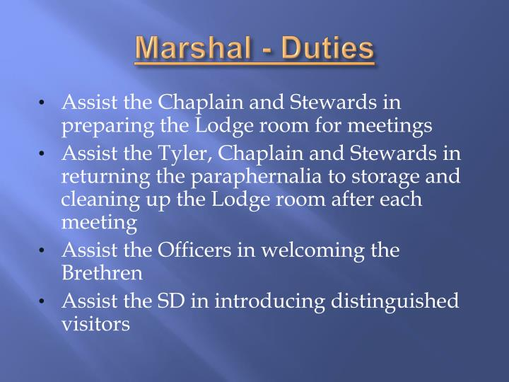 Marshal - Duties