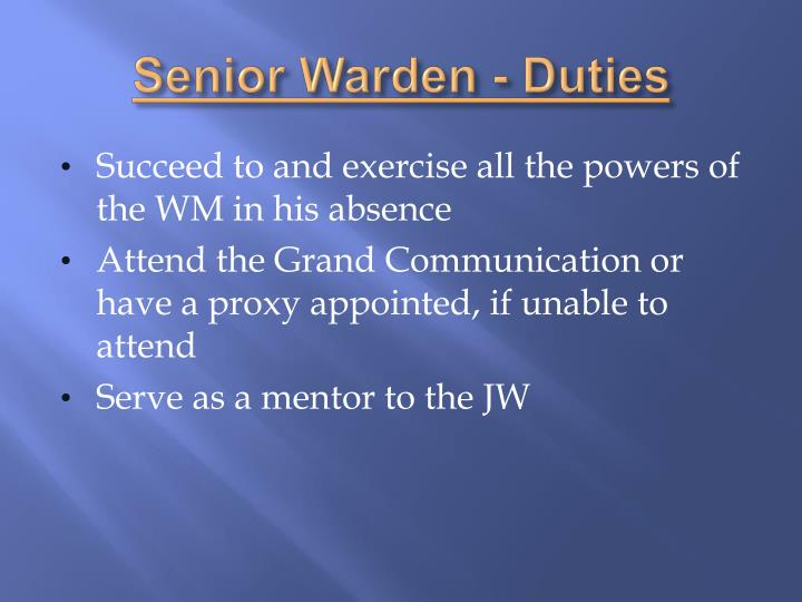 Senior Warden - Duties