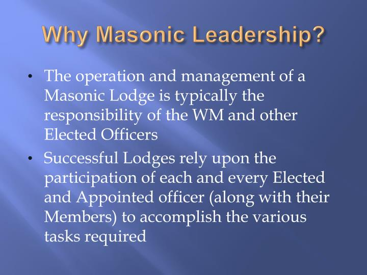 Why Masonic Leadership?