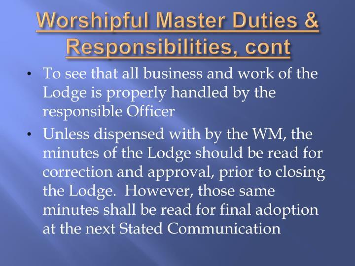 Worshipful Master Duties & Responsibilities,