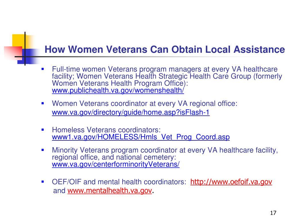 How Women Veterans Can Obtain Local Assistance