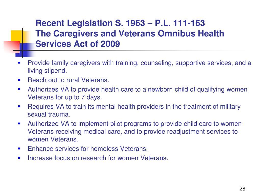 Recent Legislation S. 1963 – P.L. 111-163