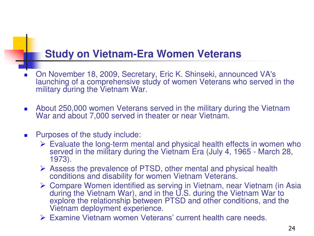 Study on Vietnam-Era Women Veterans