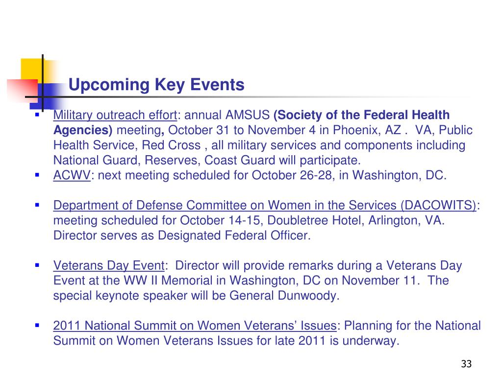 Upcoming Key Events